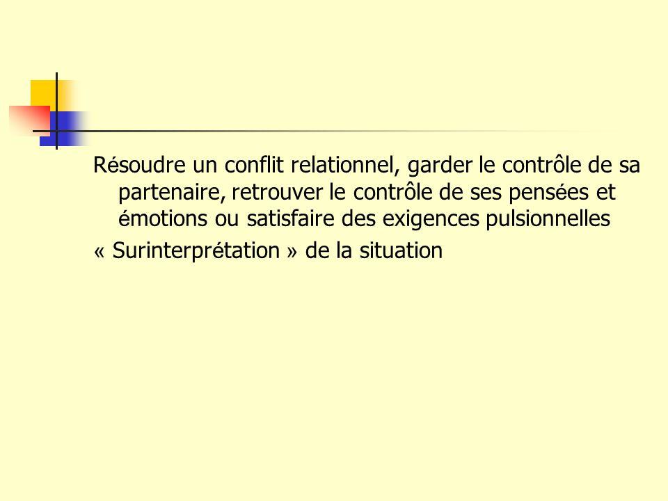R é soudre un conflit relationnel, garder le contrôle de sa partenaire, retrouver le contrôle de ses pens é es et é motions ou satisfaire des exigence
