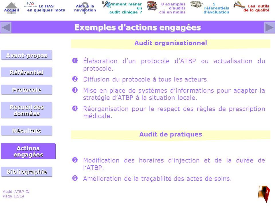 Audit ATBP Page 12/14 ©© Accueil Comment mener un audit clinique ? Les outils de la qualité 8 exemples daudits clé en mains Aide à la navigation La HA