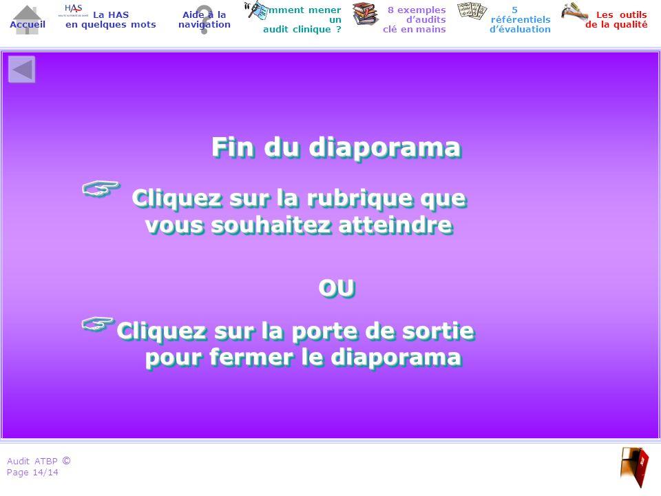 Audit ATBP Page 14/14 ©© Accueil Comment mener un audit clinique ? Les outils de la qualité 8 exemples daudits clé en mains Aide à la navigation La HA