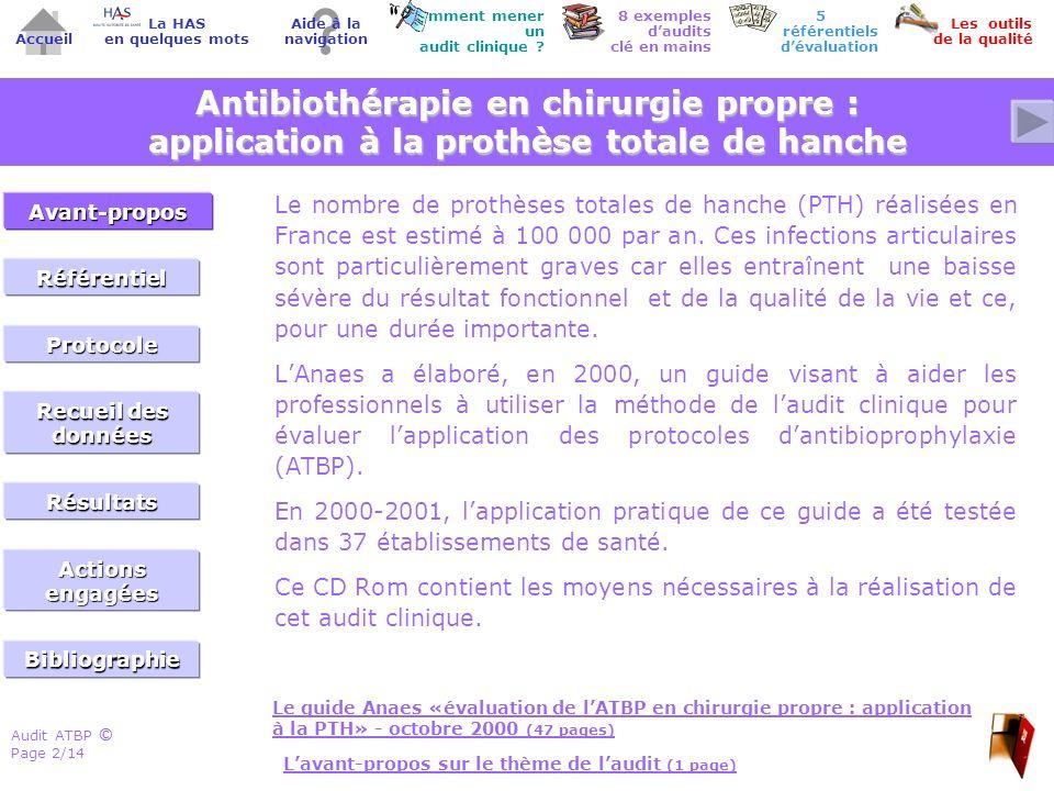 Audit ATBP Page 13/14 ©© Accueil Comment mener un audit clinique .
