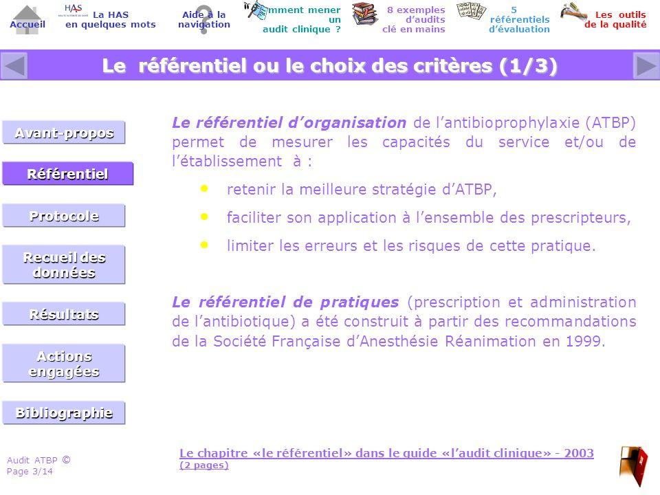 Audit ATBP Page 3/14 ©© Accueil Comment mener un audit clinique ? Les outils de la qualité 8 exemples daudits clé en mains Aide à la navigation La HAS