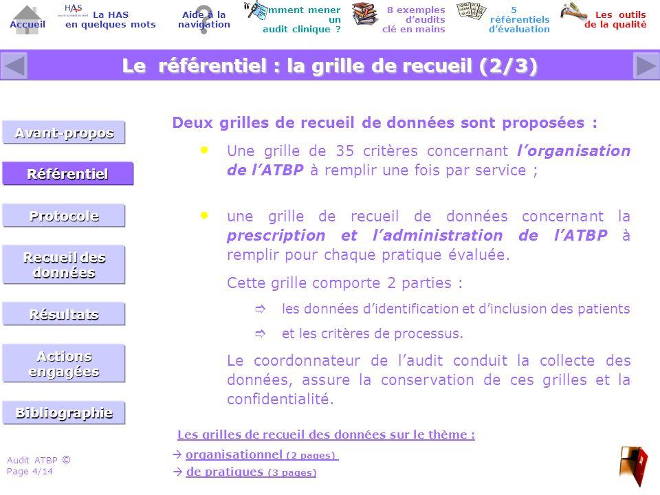 Audit ATBP Page 5/14 ©© Accueil Comment mener un audit clinique .