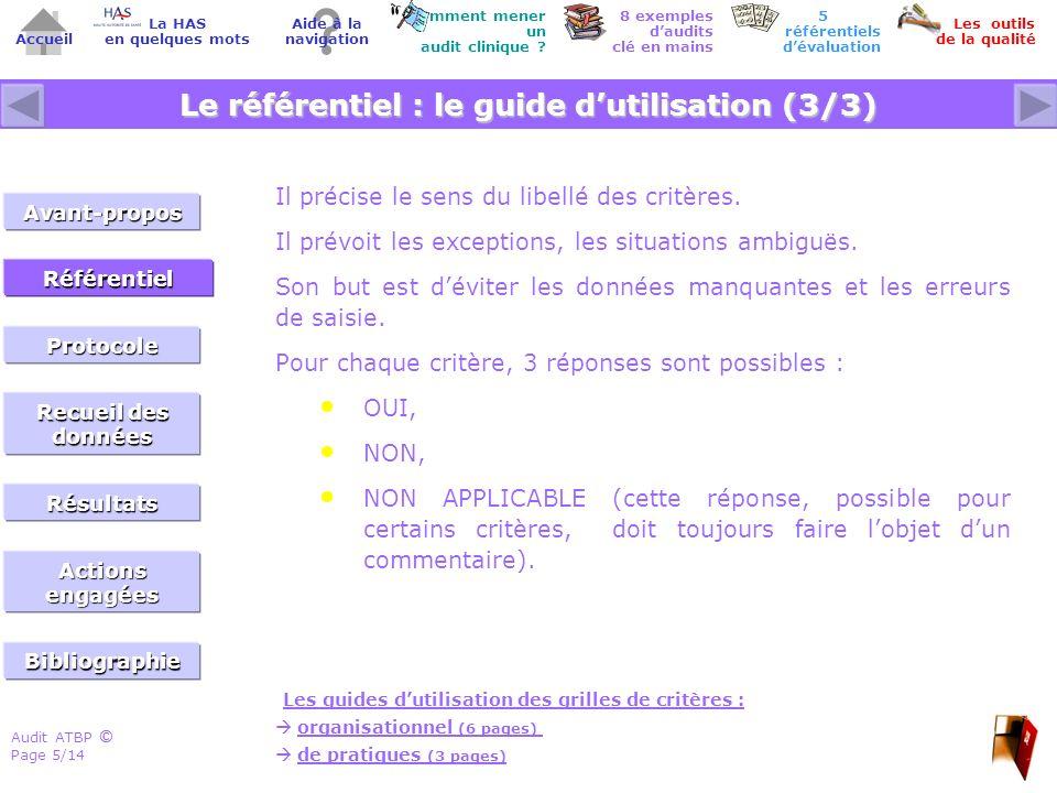 Audit ATBP Page 6/14 ©© Accueil Comment mener un audit clinique .
