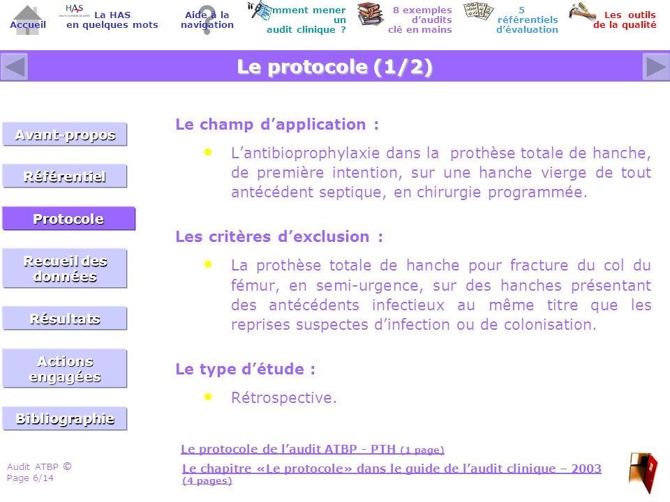 Audit ATBP Page 6/14 ©© Accueil Comment mener un audit clinique ? Les outils de la qualité 8 exemples daudits clé en mains Aide à la navigation La HAS