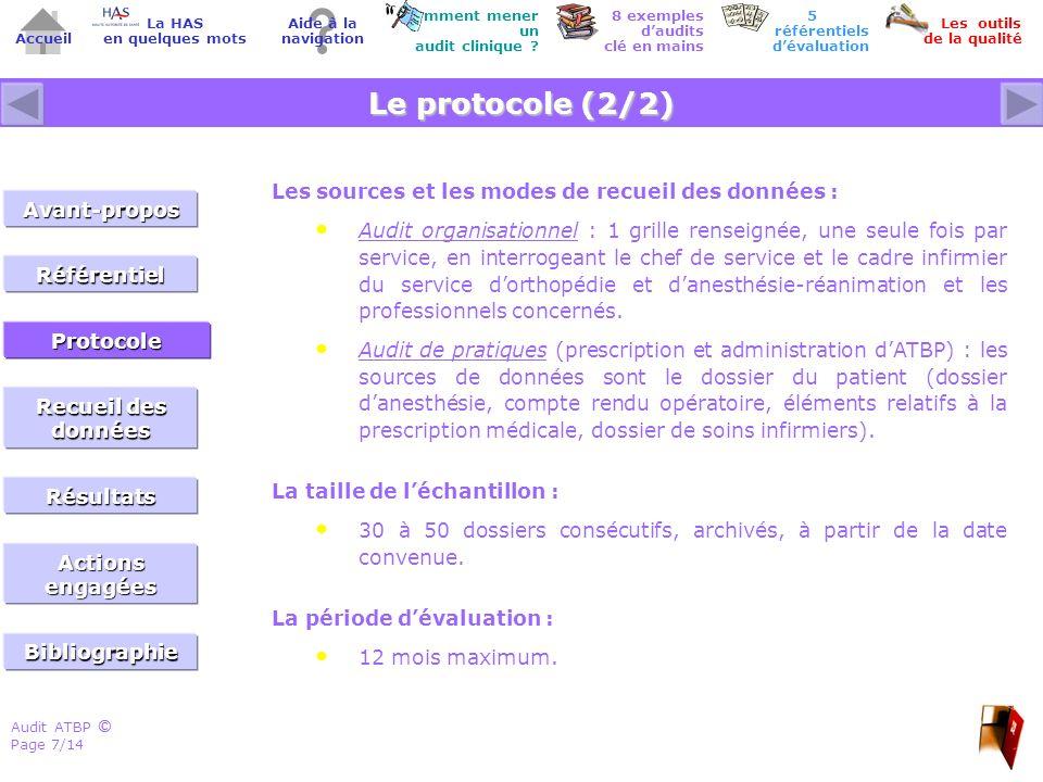 Audit ATBP Page 8/14 ©© Accueil Comment mener un audit clinique .