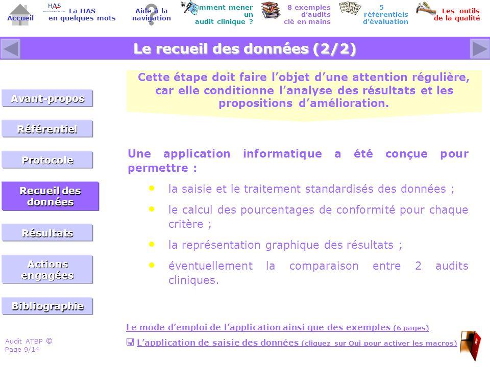 Audit ATBP Page 10/14 ©© Accueil Comment mener un audit clinique .