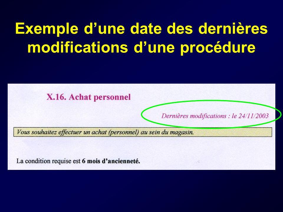 Exemple dune date des dernières modifications dune procédure