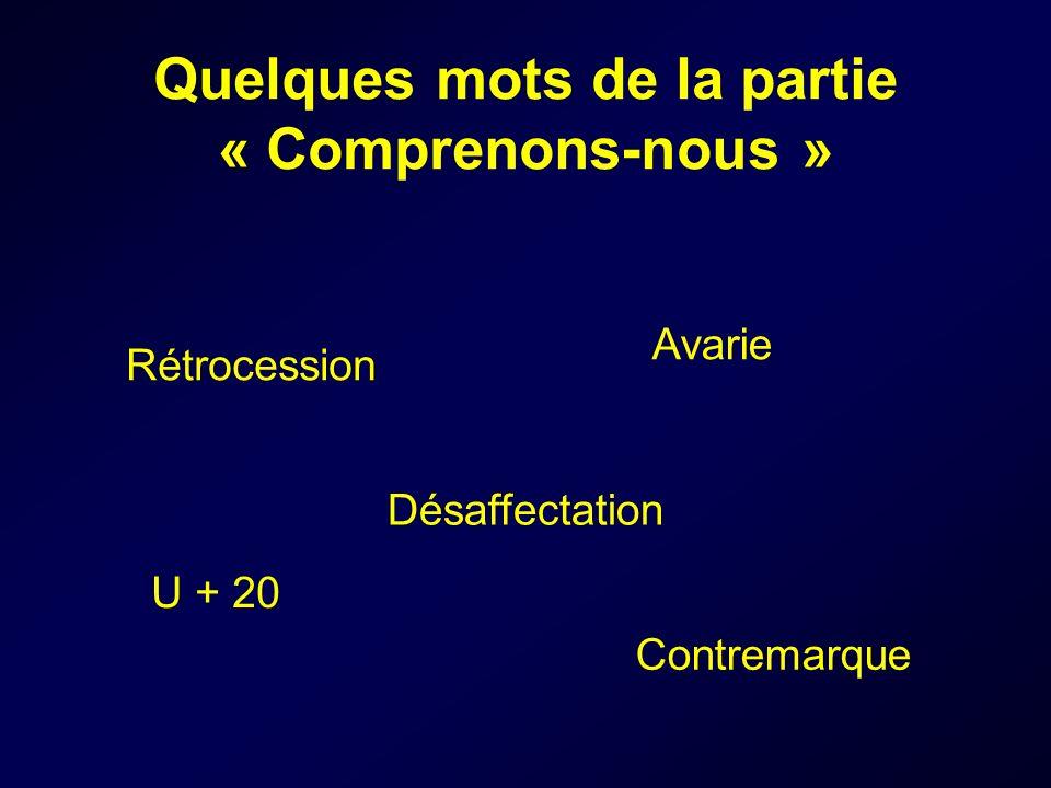 Quelques mots de la partie « Comprenons-nous » Rétrocession Désaffectation Contremarque U + 20 Avarie