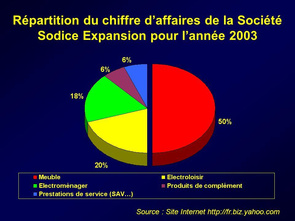 Répartition du chiffre daffaires de la Société Sodice Expansion pour lannée 2003 Source : Site Internet http://fr.biz.yahoo.com
