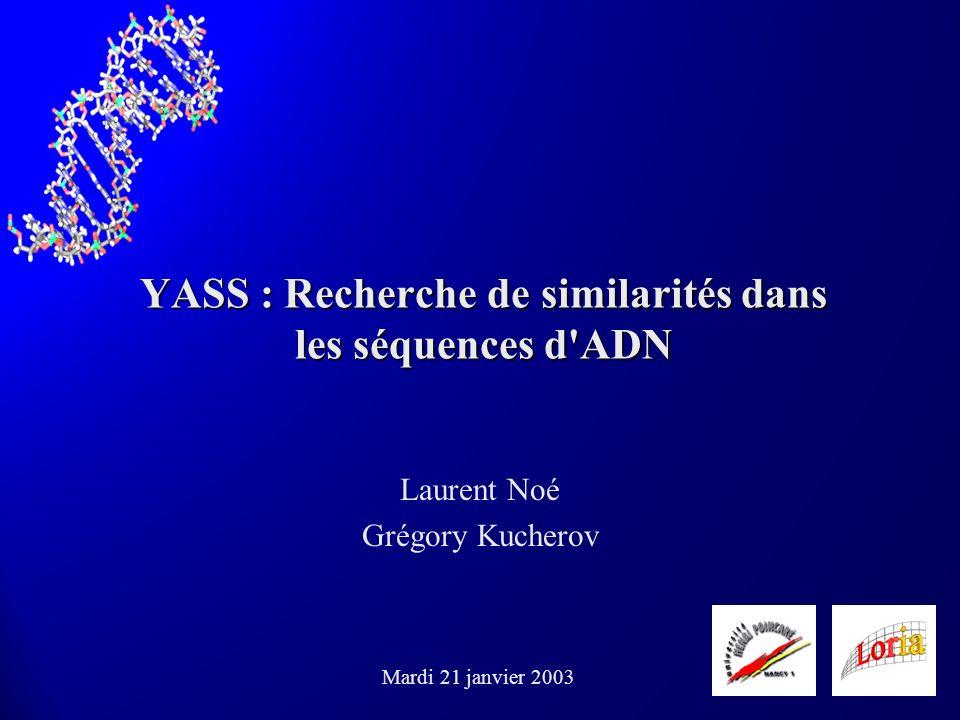 YASS : Recherche de similarités dans les séquences d'ADN Laurent Noé Grégory Kucherov Mardi 21 janvier 2003