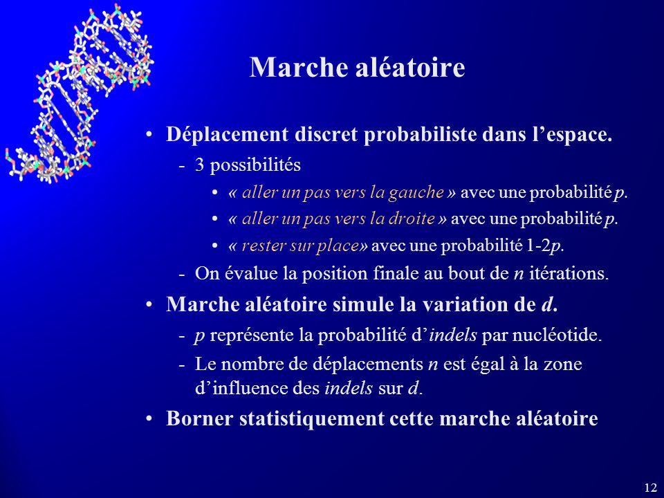 12 Marche aléatoire Déplacement discret probabiliste dans lespace. 3 possibilités « aller un pas vers la gauche » avec une probabilité p. « aller un