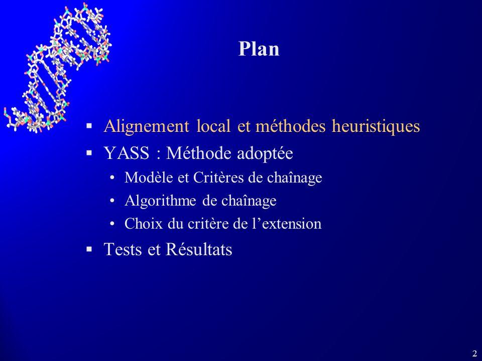 2 Plan Alignement local et méthodes heuristiques YASS : Méthode adoptée Modèle et Critères de chaînage Algorithme de chaînage Choix du critère de lext