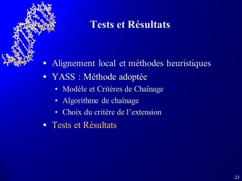23 Tests et Résultats Alignement local et méthodes heuristiques YASS : Méthode adoptée Modèle et Critères de Chaînage Algorithme de chaînage Choix du