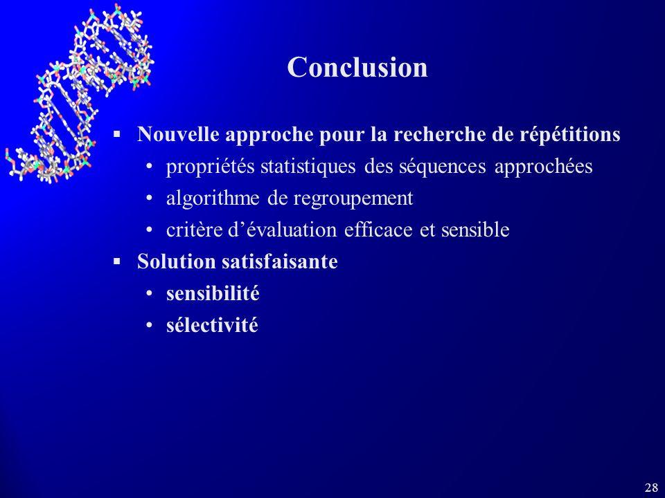 28 Conclusion Nouvelle approche pour la recherche de répétitions propriétés statistiques des séquences approchées algorithme de regroupement critère d