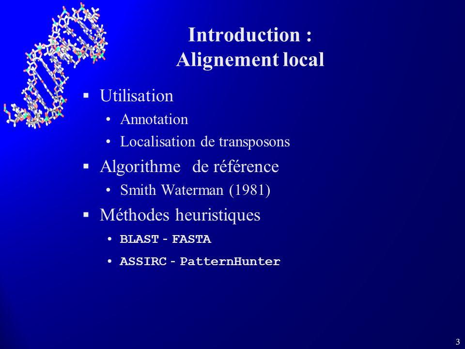 3 Introduction : Alignement local Utilisation Annotation Localisation de transposons Algorithme de référence Smith Waterman (1981) Méthodes heuristiqu