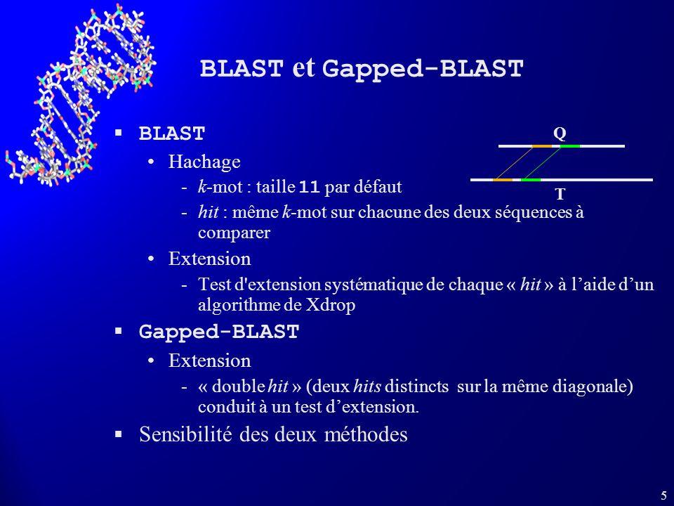 5 BLAST et Gapped-BLAST BLAST Hachage k-mot : taille 11 par défaut hit : même k-mot sur chacune des deux séquences à comparer Extension Test d'exte
