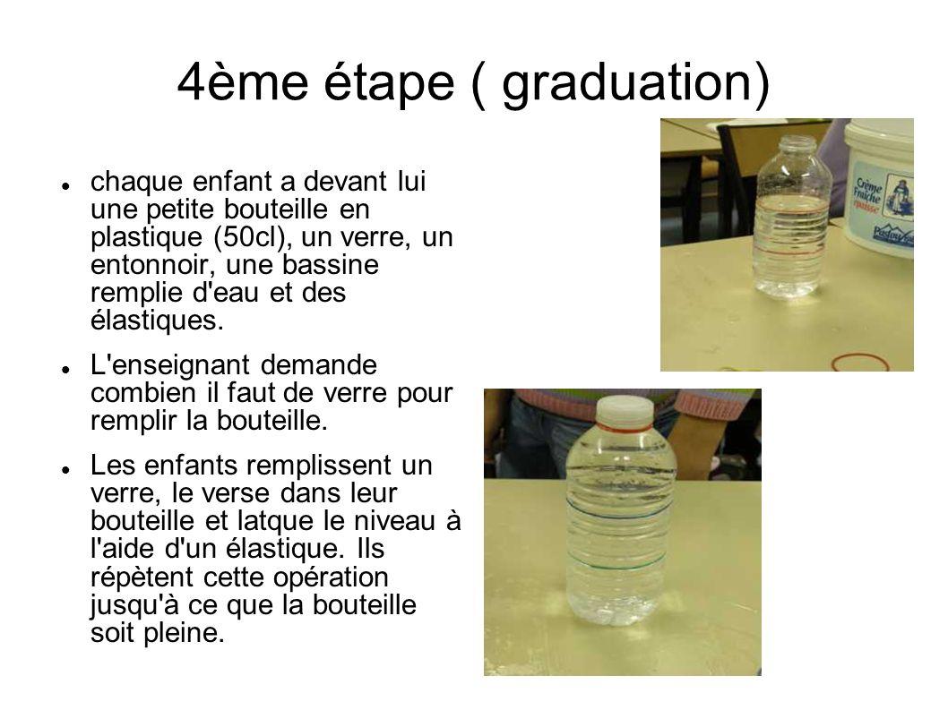 4ème étape ( graduation) chaque enfant a devant lui une petite bouteille en plastique (50cl), un verre, un entonnoir, une bassine remplie d'eau et des