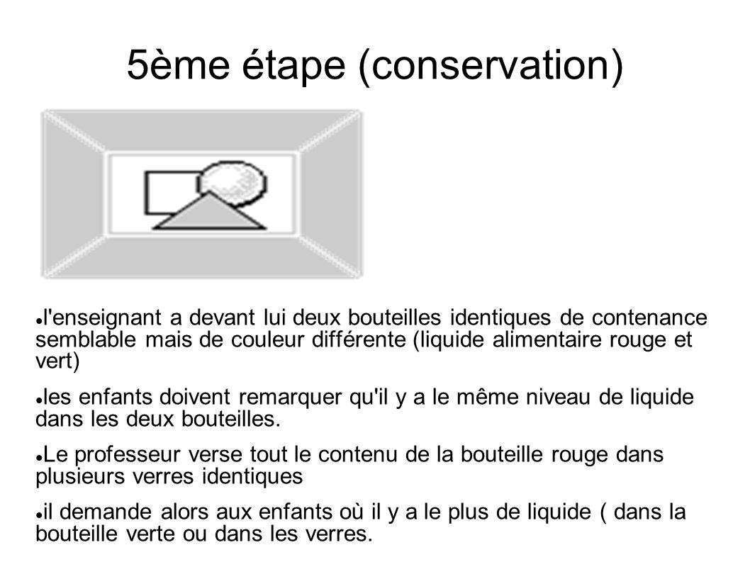5ème étape (conservation) l'enseignant a devant lui deux bouteilles identiques de contenance semblable mais de couleur différente (liquide alimentaire