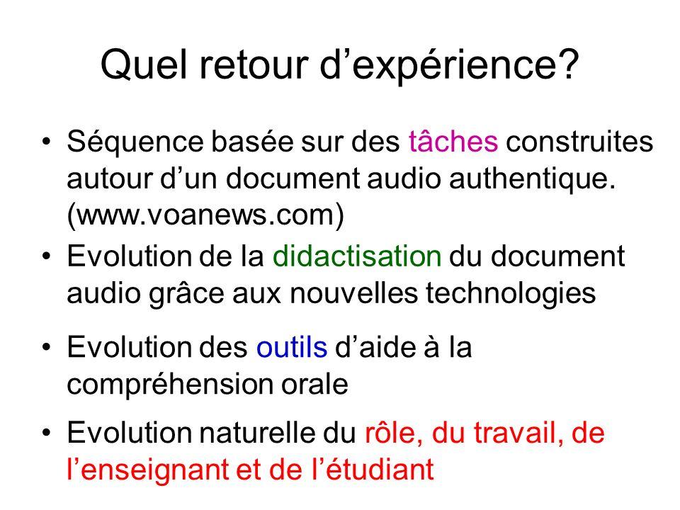 Quel retour dexpérience? Séquence basée sur des tâches construites autour dun document audio authentique. (www.voanews.com) Evolution de la didactisat