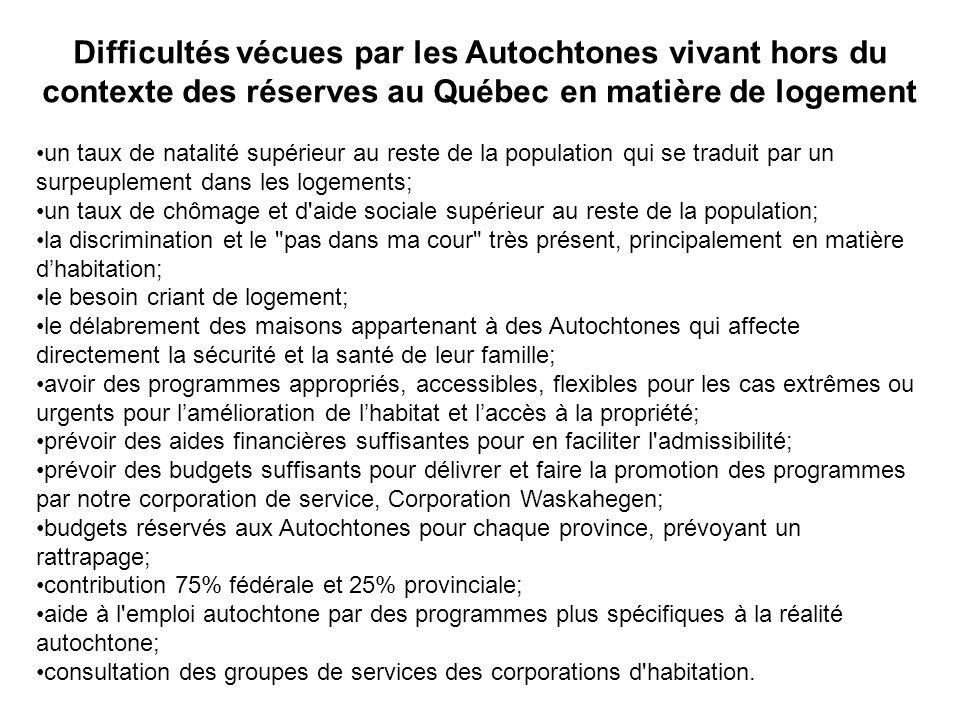 Difficultés vécues par les Autochtones vivant hors du contexte des réserves au Québec en matière de logement un taux de natalité supérieur au reste de
