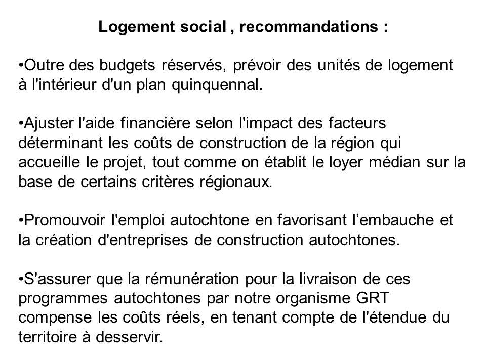 Logement social, recommandations : Outre des budgets réservés, prévoir des unités de logement à l'intérieur d'un plan quinquennal. Ajuster l'aide fina