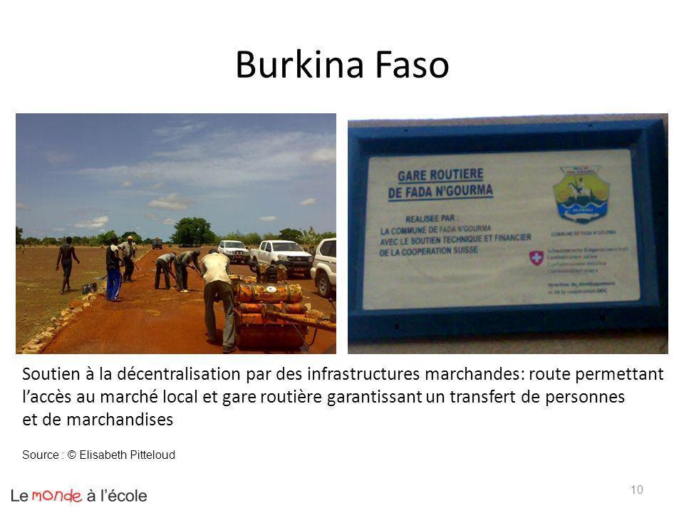Burkina Faso 10 Soutien à la décentralisation par des infrastructures marchandes: route permettant laccès au marché local et gare routière garantissan
