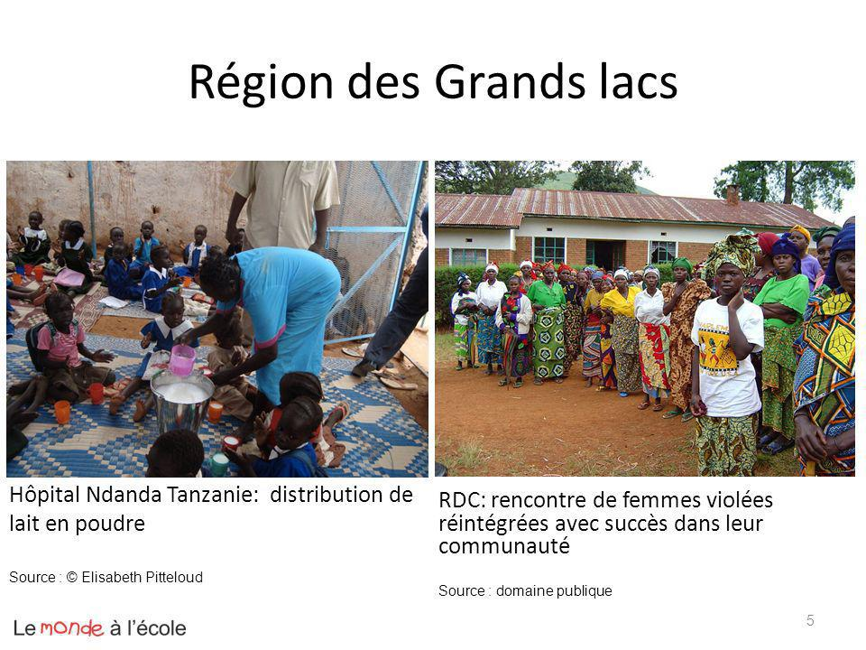 Région des Grands lacs Hôpital Ndanda Tanzanie: distribution de lait en poudre RDC: rencontre de femmes violées réintégrées avec succès dans leur comm