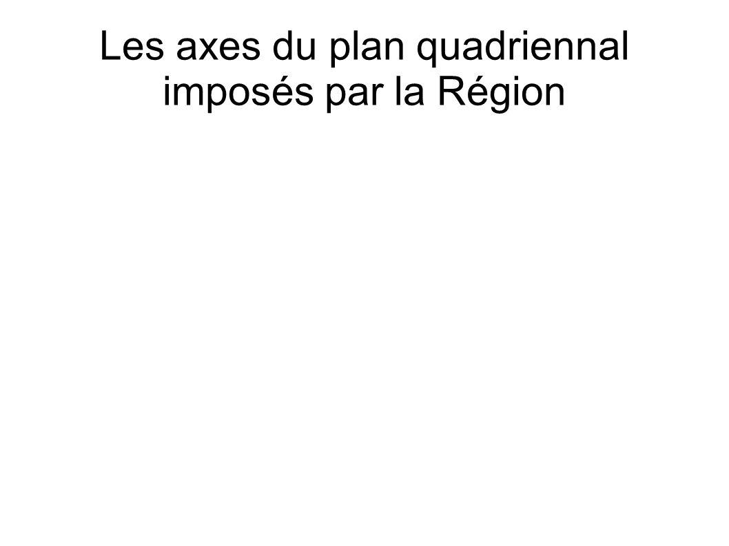 Les axes du plan quadriennal imposés par la Région