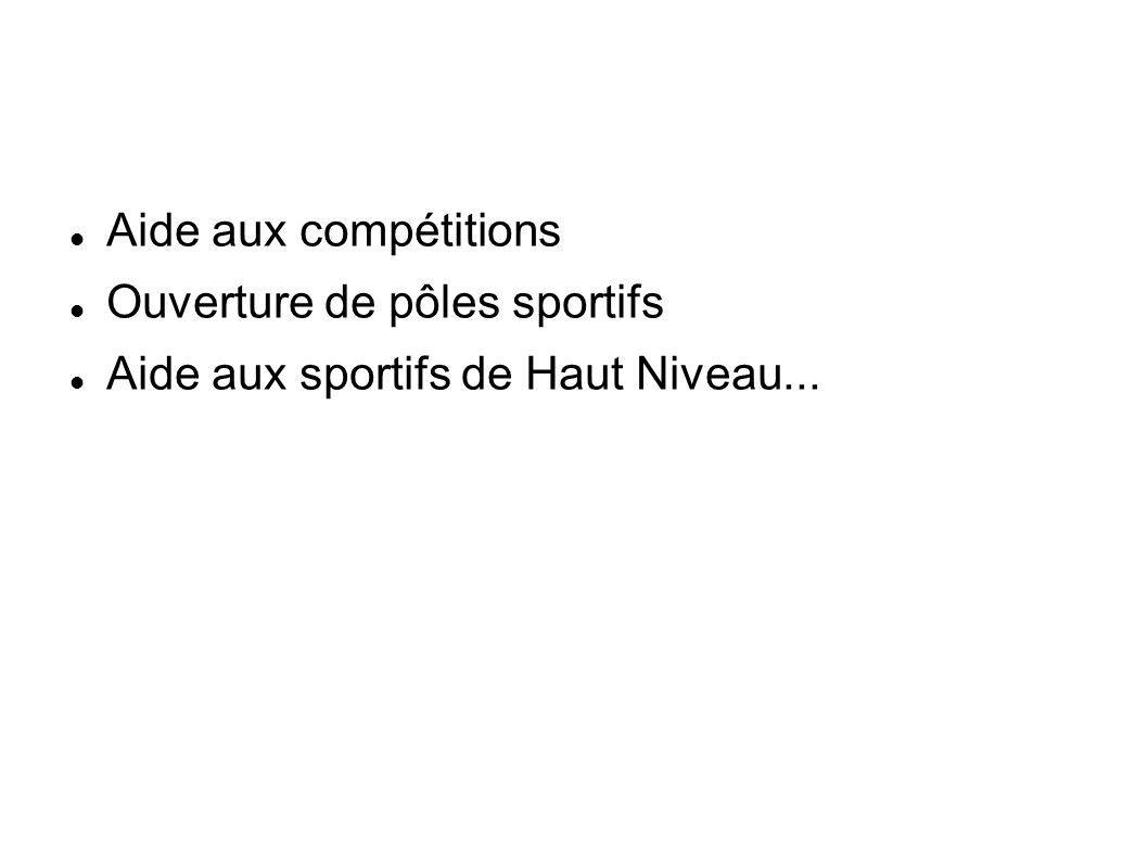 Aide aux compétitions Ouverture de pôles sportifs Aide aux sportifs de Haut Niveau...
