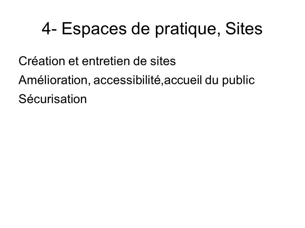 4- Espaces de pratique, Sites Création et entretien de sites Amélioration, accessibilité,accueil du public Sécurisation