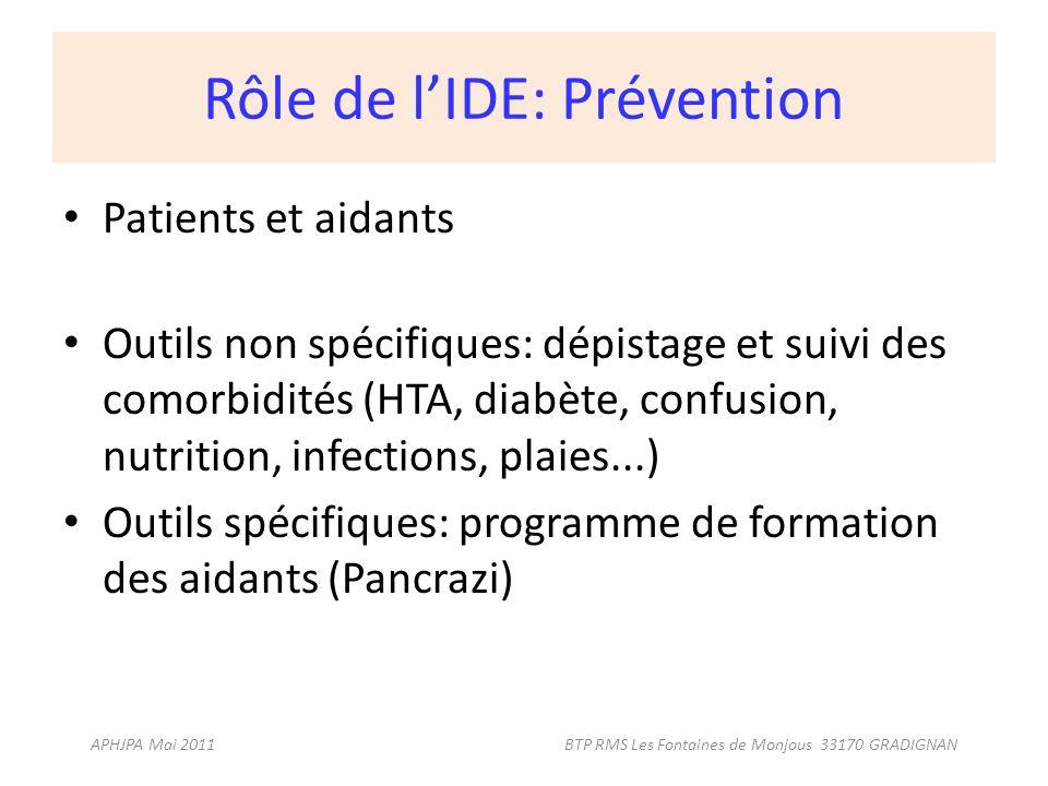 Rôle de lIDE: Prévention Patients et aidants Outils non spécifiques: dépistage et suivi des comorbidités (HTA, diabète, confusion, nutrition, infectio
