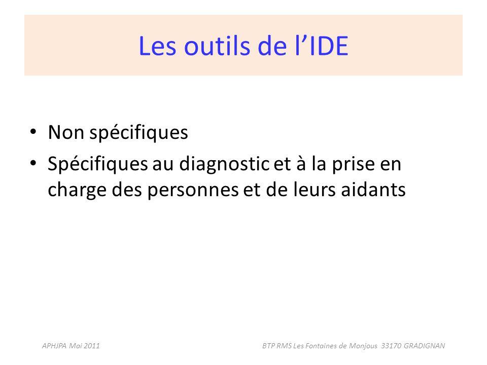 Les outils de lIDE Non spécifiques Spécifiques au diagnostic et à la prise en charge des personnes et de leurs aidants APHJPA Mai 2011 BTP RMS Les Fon