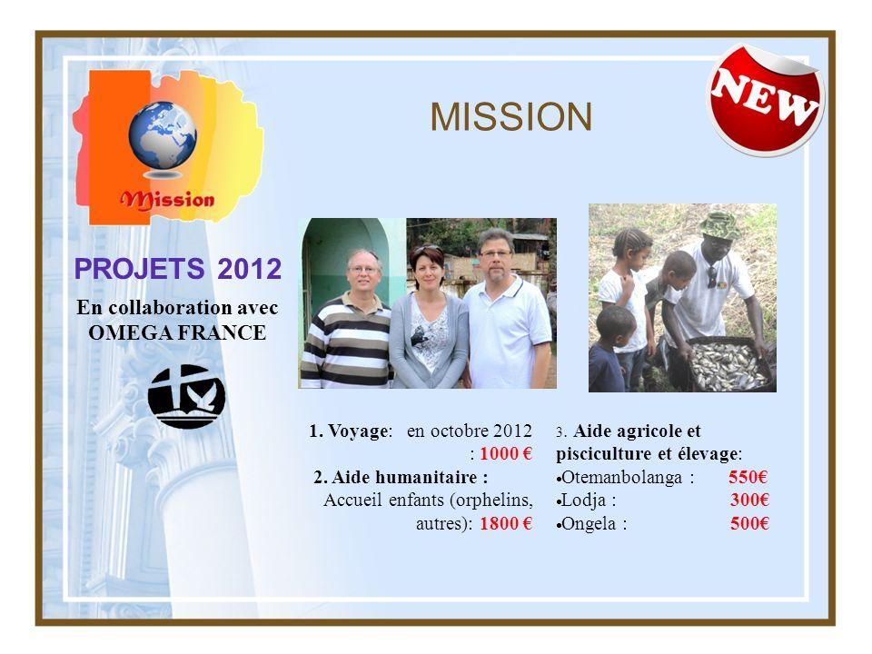 MISSION PROJETS 2012 En collaboration avec OMEGA FRANCE 1. Voyage: en octobre 2012 : 1000 2. Aide humanitaire : Accueil enfants (orphelins, autres): 1