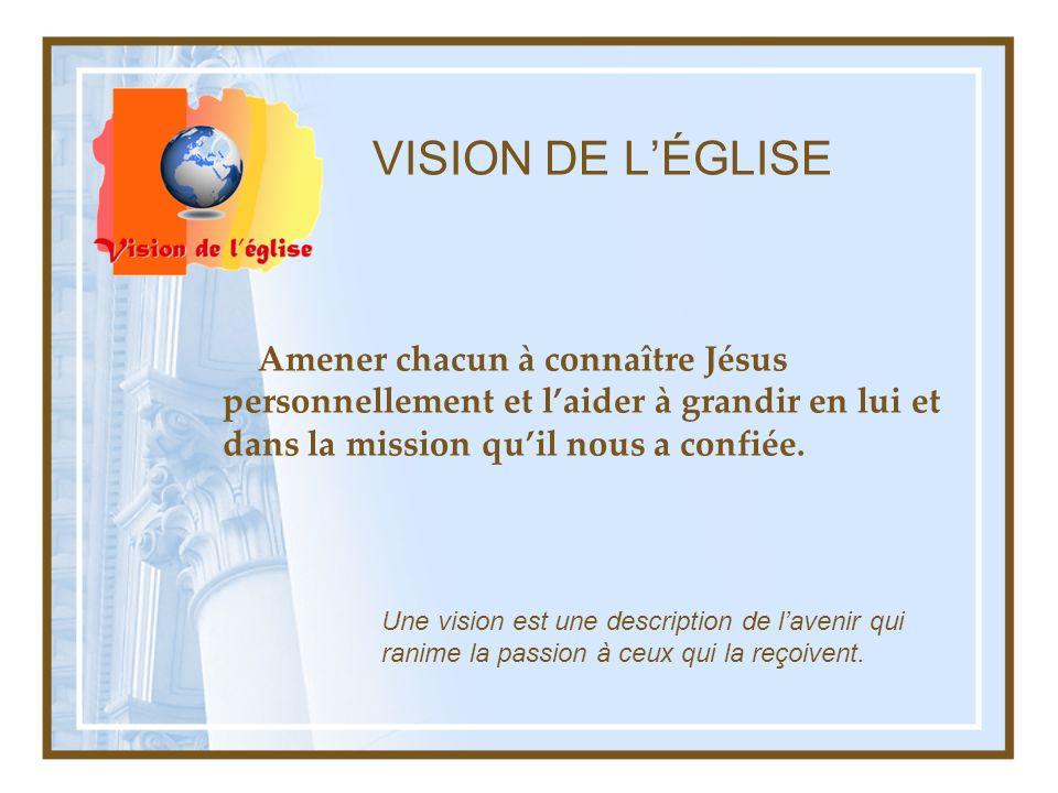 VISION DE LÉGLISE Amener chacun à connaître Jésus personnellement et laider à grandir en lui et dans la mission quil nous a confiée. Une vision est un