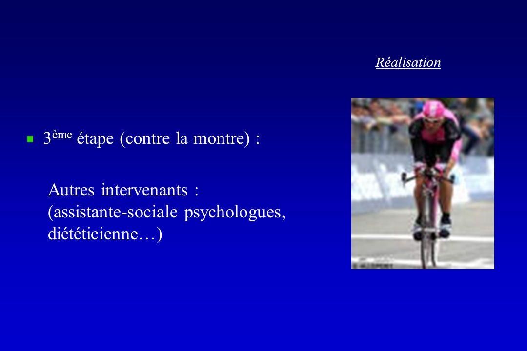 Réalisation 3 ème étape (contre la montre) : Autres intervenants : (assistante-sociale psychologues, diététicienne…)