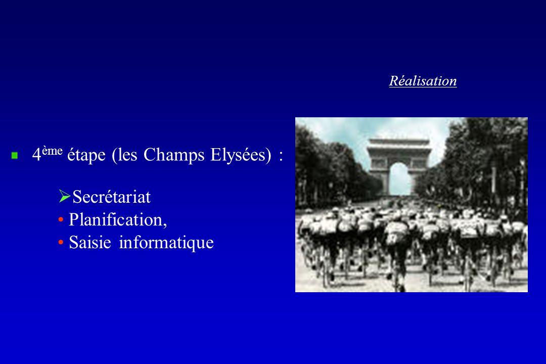 Réalisation 4 ème étape (les Champs Elysées) : Secrétariat Planification, Saisie informatique