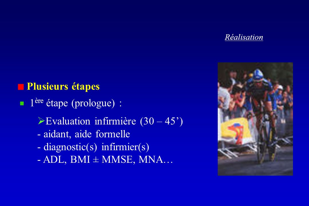 Réalisation Plusieurs étapes 1 ère étape (prologue) : Evaluation infirmière (30 – 45) - aidant, aide formelle - diagnostic(s) infirmier(s) - ADL, BMI ± MMSE, MNA…