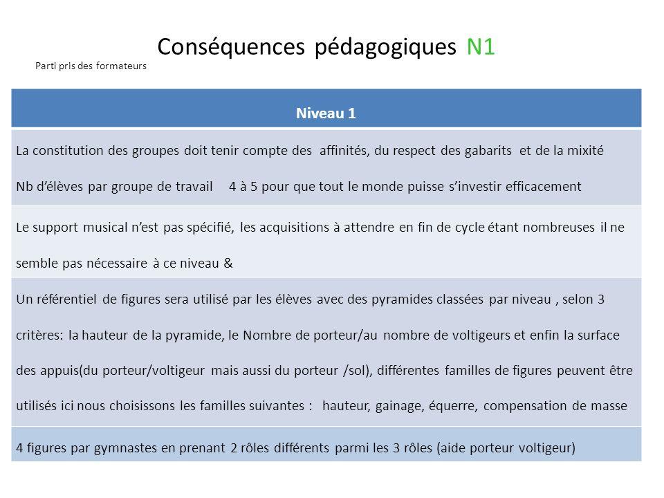Conséquences pédagogiques N1 Parti pris des formateurs Passage du N1 au N2 Passer daides omniprésentes durant le montage et démontage de la pyramide à
