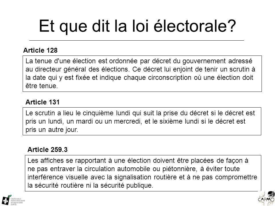 Et que dit la loi électorale.