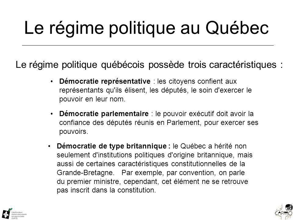 Le régime politique au Québec Le régime politique québécois possède trois caractéristiques : Démocratie représentative : les citoyens confient aux représentants qu ils élisent, les députés, le soin d exercer le pouvoir en leur nom.