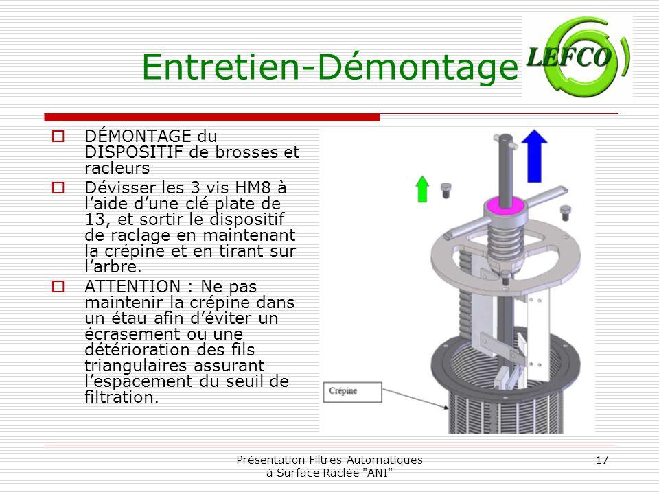 Présentation Filtres Automatiques à Surface Raclée