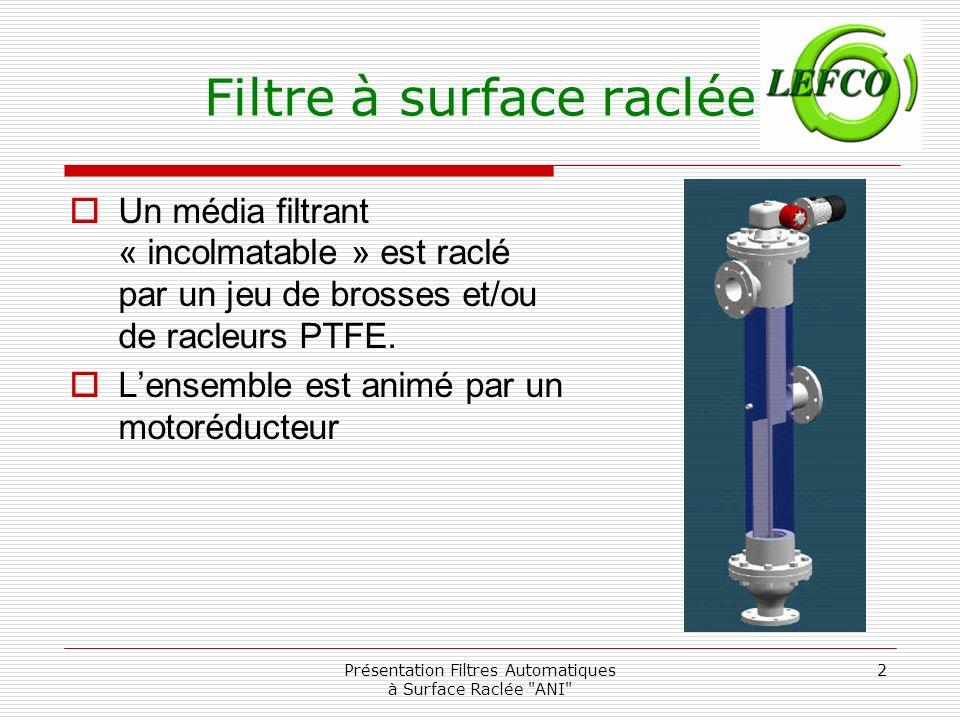 Présentation Filtres Automatiques à Surface Raclée ANI 3 Filtre à surface raclée Un média filtrant « incolmatable » est réalisé par des fils à section triangulaire.