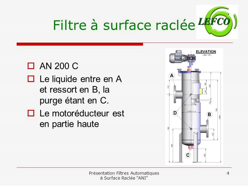 Présentation Filtres Automatiques à Surface Raclée ANI 5 Filtre à surface raclée AN 450 Le liquide entre en A et ressort en B, la purge étant en C.