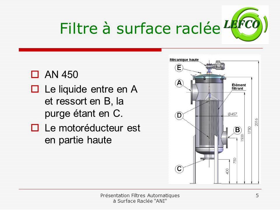 Présentation Filtres Automatiques à Surface Raclée ANI 16 Entretien-Démontage Extraire lélément filtrant du filtre.