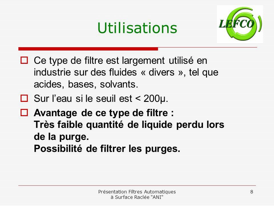 Présentation Filtres Automatiques à Surface Raclée ANI 9 Les débits (à 0.7m/s) (vitesse dans les fentes du média filtrant)