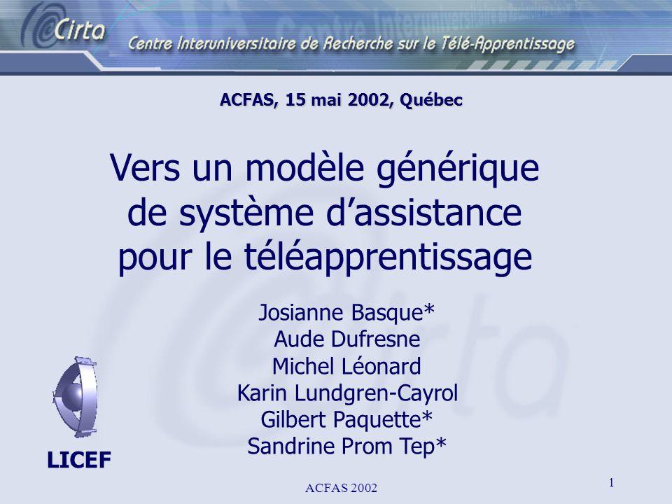 ACFAS 2002 1 ACFAS, 15 mai 2002, Québec Vers un modèle générique de système dassistance pour le téléapprentissage Josianne Basque* Aude Dufresne Miche