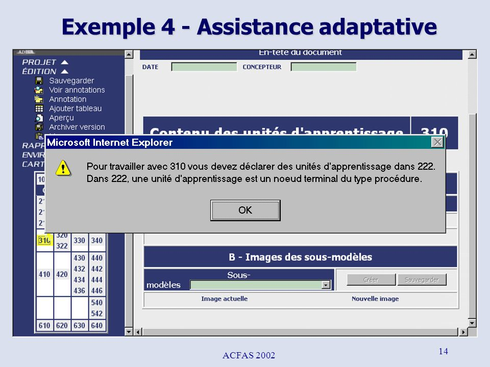 ACFAS 2002 14 Exemple 4 - Assistance adaptative