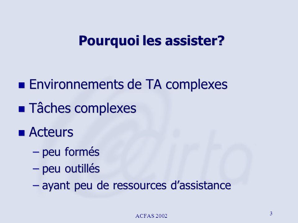 ACFAS 2002 3 Pourquoi les assister? n Environnements de TA complexes n Tâches complexes n Acteurs –peu formés –peu outillés –ayant peu de ressources d