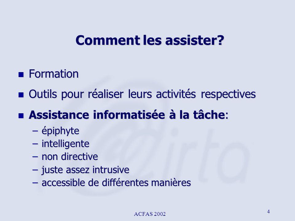 ACFAS 2002 4 Comment les assister? n Formation n Outils pour réaliser leurs activités respectives n Assistance informatisée à la tâche: –épiphyte –int
