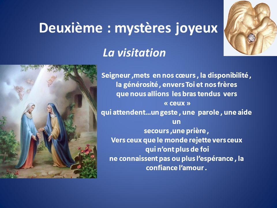 Deuxième : mystères joyeux La visitation Seigneur,mets en nos cœurs, la disponibilité, la générosité, envers Toi et nos frères que nous allions les br
